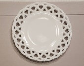 Westmoreland Forget Me Not Milk Glass 8 quot Luncheon Plate