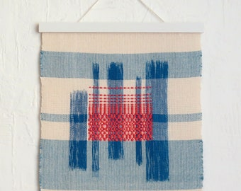 Wallhanging 'crushed' hand-painted and handwoven blue white