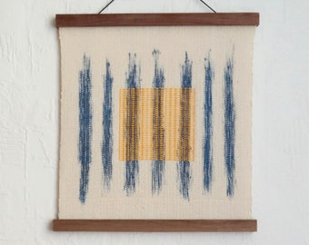 Wallhanging 'zen' hand-painted and handwoven blue yellow