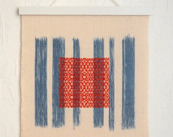 Wallhanging 'zen lines' hand-painted and handwoven blue yellow