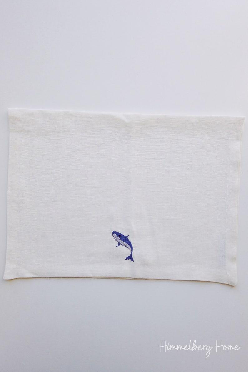 Linen Guest Towel Blue Linen Napkin Hand Towel. Blue Whale Linen Kitchen Towel Tea Towel Embroidered