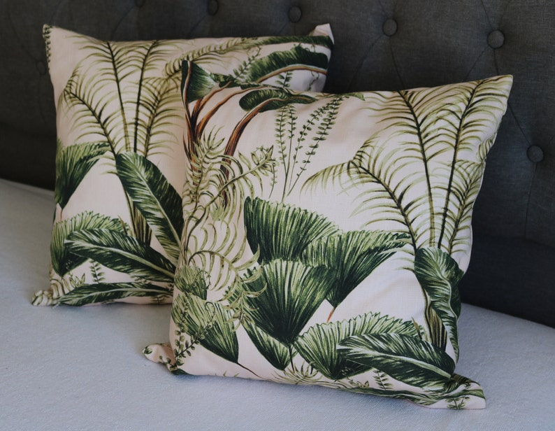 Decorative Cushion Covers blush garden Scape Oasis 2 sided Cushion Covers 40x40 |Throw Cushion Covers Cotton Handmade Large Palm Trees