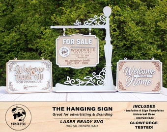 The Hanging Sign - SVG File Download - Sized for Glowforge - Customizable advertisement & branding Sign