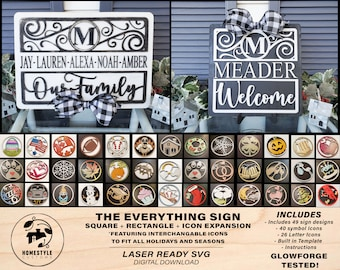 The Everything Sign Bundle - 50 Designs, 40 Icon Symbols, 26 Icon Letters - Interchangeable - Built in Template - SVG Download