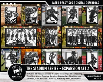 Stadium Series Sports Signage Expansion Set 2 - 28 Designs - SVG File Download - Sized for Glowforge