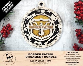 Border Patrol Ornament Bundle - 4 Unique designs - SVG, PDF, AI File Download - Sized for Glowforge