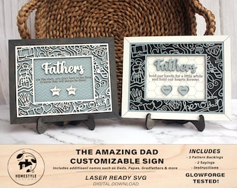 The Amazing Dad Customizable Sign  - SVG File Download - Sized for Glowforge - Fathers Day