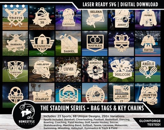 Stadium Series Sports Bag Tags & Key Chains - 15 Designs - SVG File Download - Sized for Glowforge