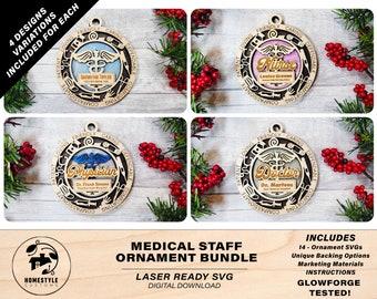 Medical Staff Ornament Bundle - 14 Unique designs - SVG, PDF, AI File Download - Sized for Glowforge