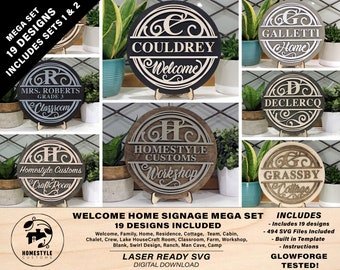 Personalized Home Signage Mega Set - 19 Designs Included - 494 files - Built in Template - SVG File Download - Sized for Glowforge