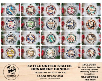United States Ornament Bundle - 52 Unique designs for each State - SVG File Download - Sized for Glowforge