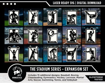Stadium Series Sports Signage Expansion Set - 15 Designs - SVG File Download - Sized for Glowforge