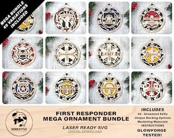 First Responder Mega Ornament Bundle - 40 Unique designs - SVG, PDF, AI File Download - Sized for Glowforge