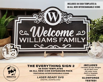 The Everything Sign 2 Bundle - 57 Designs, 86 Icon Symbols, 26 Icon Letters - Interchangeable - Built in Template - SVG Download