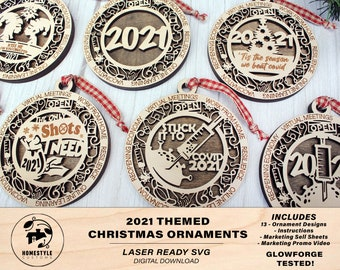 2021 Themed Christmas Ornament Bundle - 15 Designs - SVG File Download - Sized for Glowforge