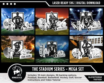 Stadium Series Sports Signage Mega Pack - 18 Designs, 3 of Each Sport - SVG File Download - Sized for Glowforge