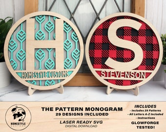 Pattern Monogram Set - 29 Pattern Designs Included -- SVG File Download - Sized for Glowforge