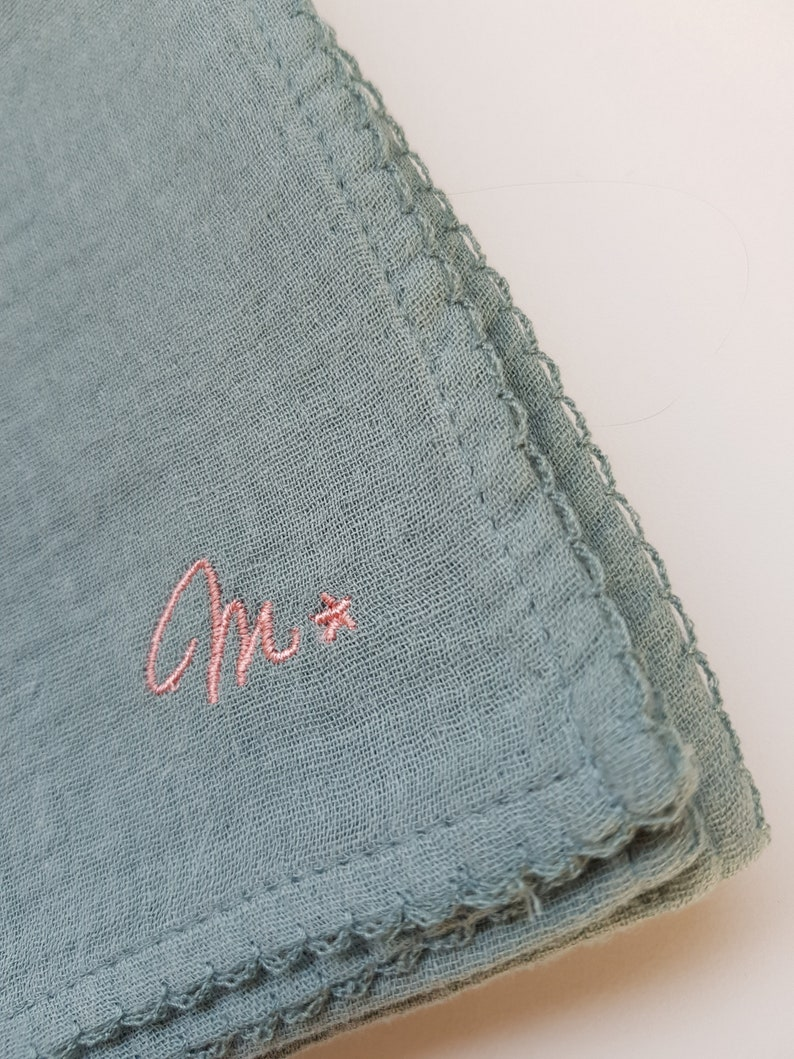 Aqua with pink embroidery Baby muslin square