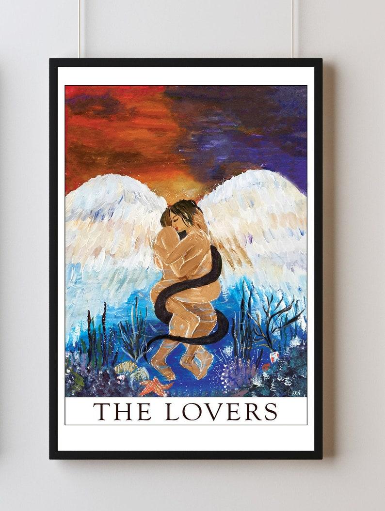 The lovers tarot card print the lovers art print acrylic image 0