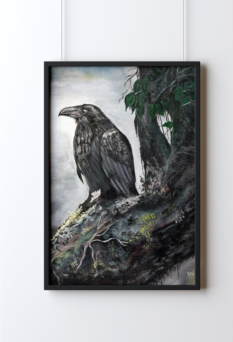 Raven Acrylic Painting Print Mystical Raven  Art Prints image 0