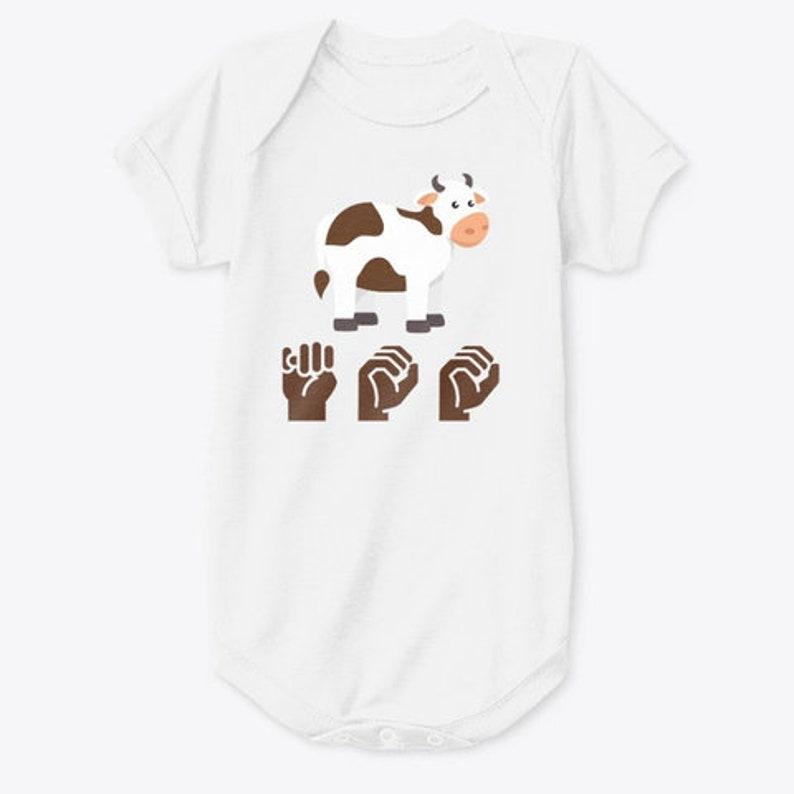 Baby Onesie Kids Sign Language Cow ASL MOO