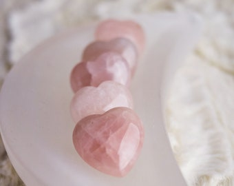 Small Rose Quartz Heart Carvings, Pocket stone, Natural Crystal, Home Decor, Gift