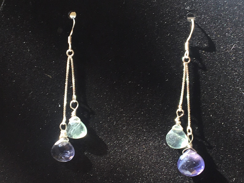 Mother\u2019s Day gift light blue fluorite and purple iolite hearts dangle earrings March birthstone Purple and aquamarine-colored earrings