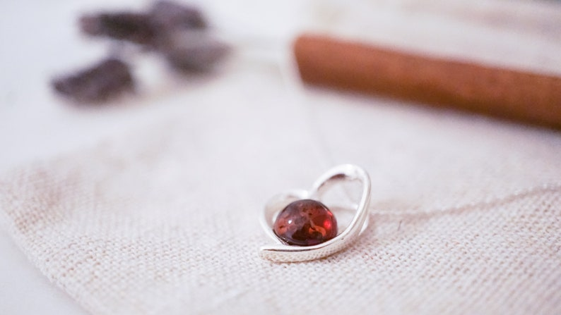 Sterling Silver Genuine Amber Amber Heart Pendant