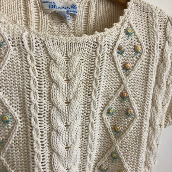 Floral Cropped  Handknit Cottagecore Sweater - image 6