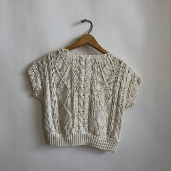 Floral Cropped  Handknit Cottagecore Sweater - image 7