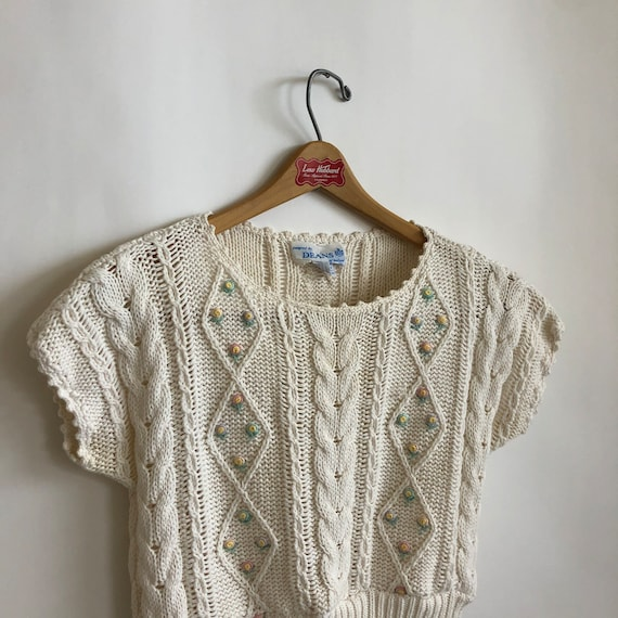 Floral Cropped  Handknit Cottagecore Sweater - image 4
