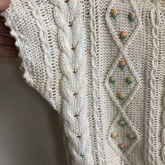 Floral Cropped  Handknit Cottagecore Sweater - image 5