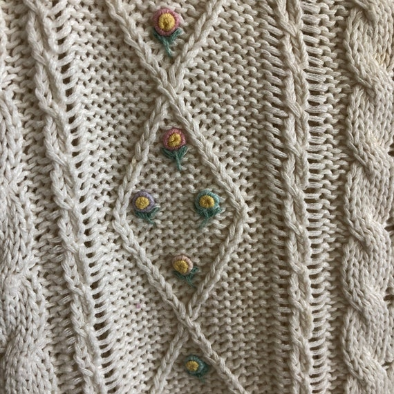 Floral Cropped  Handknit Cottagecore Sweater - image 2
