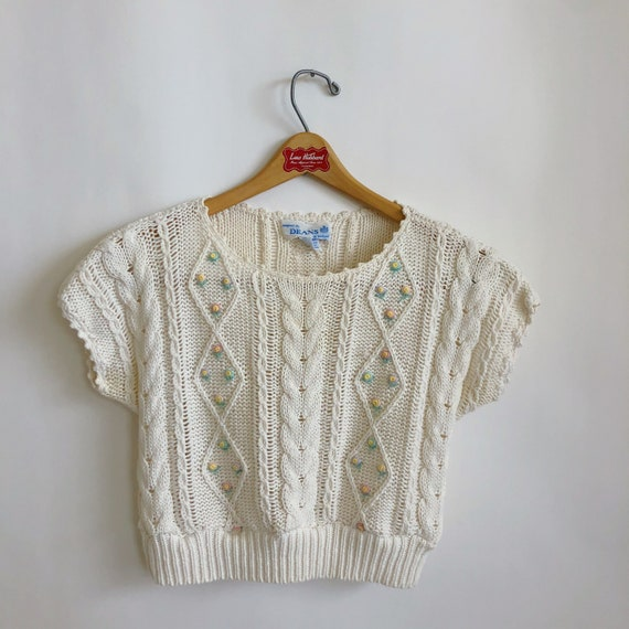 Floral Cropped  Handknit Cottagecore Sweater - image 1