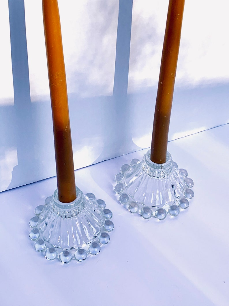 set of 2 Vintage Glass Tapered Candlestick Holders