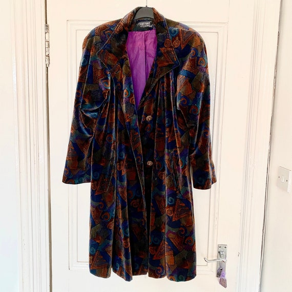 80s Vintage Abstract Velvet Coat - image 1