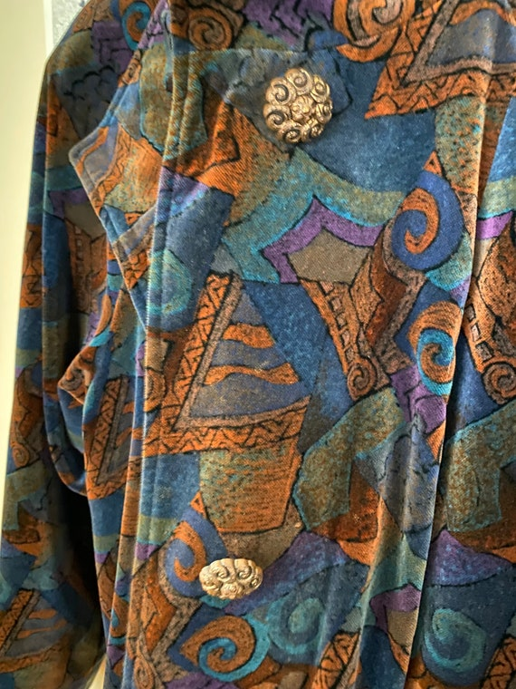 80s Vintage Abstract Velvet Coat - image 3