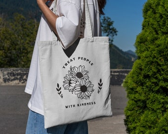 Treat people with Kindness canvas tote bags Harry gift TPWK Harry tote With pocket and zipper personalized tote