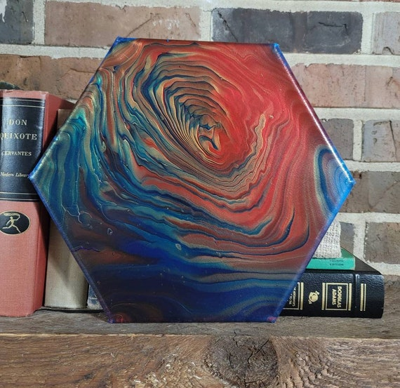 Whirling Dreamscapes- Abstract Hexagonal Fluid Art Painting