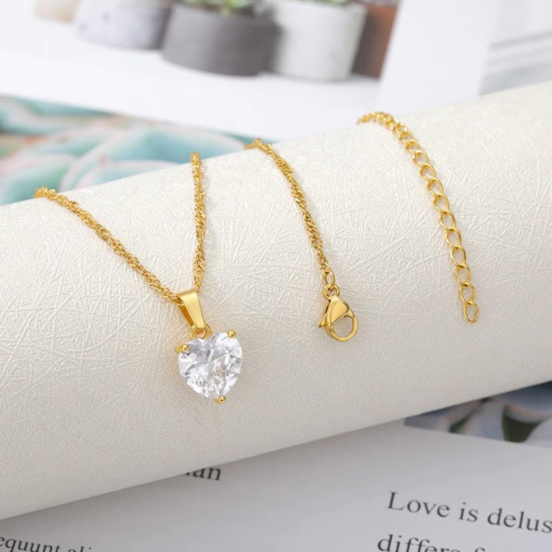 Heart Necklaces For Women Stainless Steel Gold Chain Zircon Heart Pendant Necklace Lover Clavicle Choker Valentine Jewelry Gift