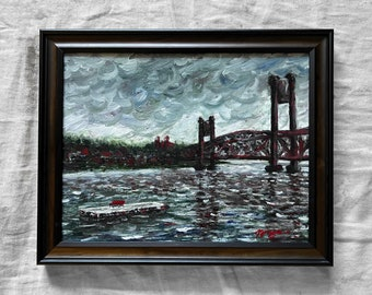 The Bridge at Prescott WI, Original Acrylic Painting, Framed