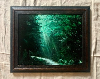 Fireflies Lighting the Way Back Through the Forest, Acrylic Painting, Framed