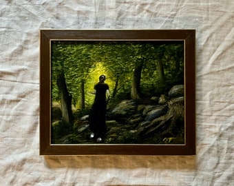 Hiking the Cliffs of Interstate Park, Original Acrylic Painting, Framed