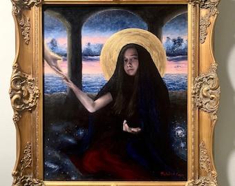 Virgin Annunciate, Framed, Original Acrylic Painting