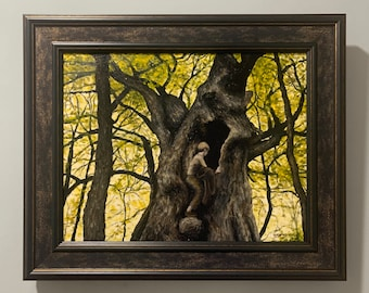 Under the Great Maple Tree, Acrylic Painting, Framed