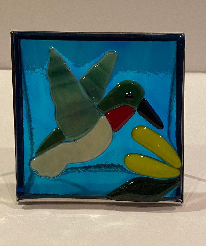 Hummingbird Panel Handcrafted FusedGlass Art
