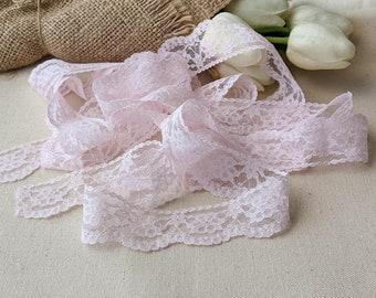 1 meter Pink 70s Lace Trim, Wedding Decorative Scallops Lace,  Vintage Bridal Garter Lace Trim, Lace Choker, Headband