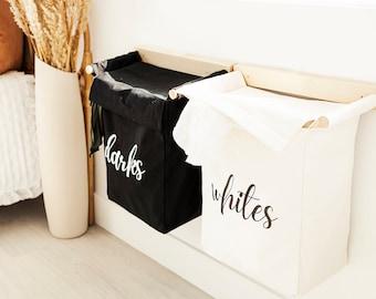 Laundry Basket with Lid Set of 2 | Nursery Organizer | Monogrammed Laundry Bag | Canvas Laundry Basket | Customized Laundry Hamper