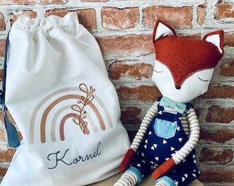Personalised Toy Storage Bag | Kids Room Storage, Personalized Drawstring Cotton Bag, Gift for Kids, Boho Rainbow Toy Bag, Nursery Organizer