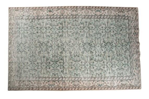 4'8''x8'2''Green Color Vintage Turkish Wool Rug,Anatolian Ottoman Handmade Area Rug,Home Decor,Decorative Rug,Nomadic Rug,Modern  Rug